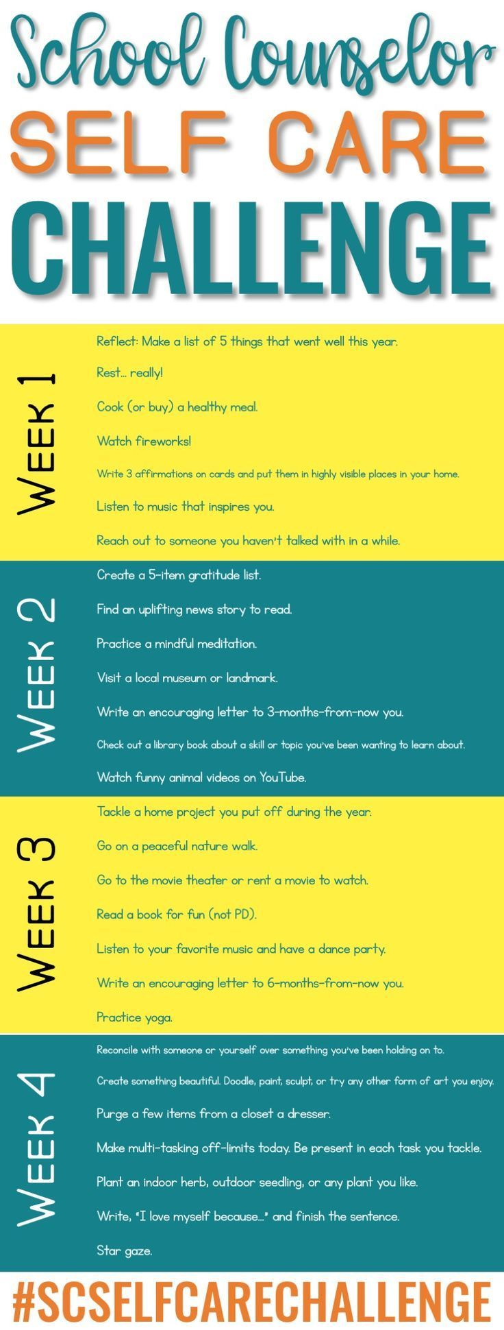 School Counselor Summer Self Care Challenge Elementary