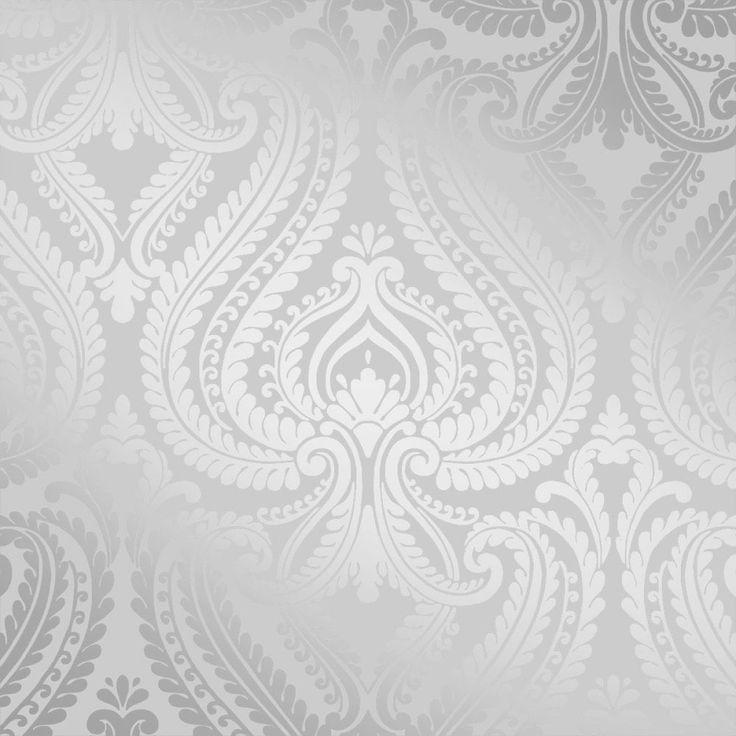 I Love Wallpaper Shimmer Damask Wallpaper Soft Grey / Silver (ILW980043) - Wallpaper from I love wallpaper UK