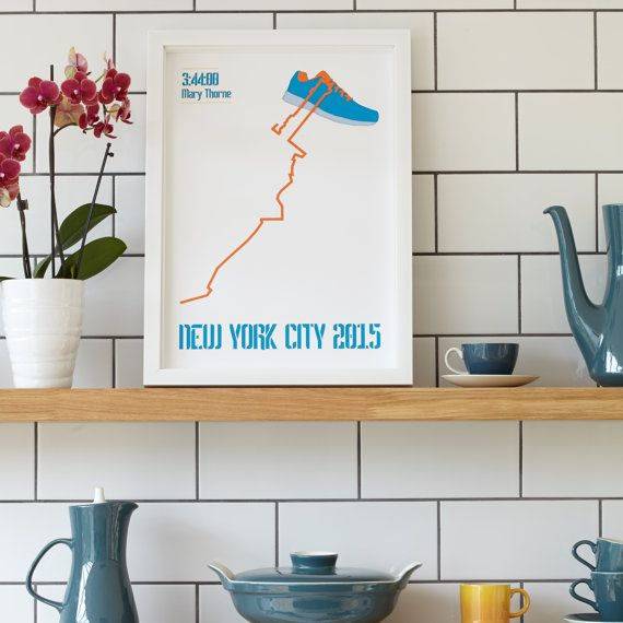 New York Marathon, a unique and modern artwork design to commemorate the 26.2 #marathon #262 https://www.etsy.com/listing/238514243/new-york-marathon-shoe-lace-route-map