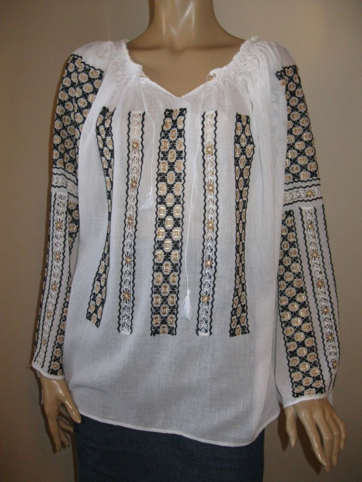 Romanian traditional blouse top /black golden hand embroidery - size M/L by RealRomania on Etsy