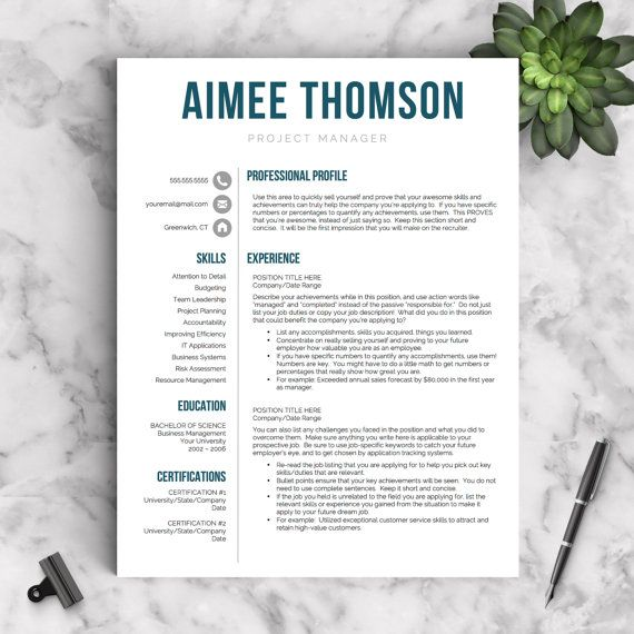 Modern Resume Template for Word and Pages: The Aimee ✓ Instant Download Resume Template ✓ US Letter and A4 Sizes included ✓ Mac & PC Compatible using Microsoft Word or Mac Pages ✓ Every template item is customizable - colors, headers, icons, etc. This modern resume template is just what you need to freshen up that old resume! Creative and stylish while still being professional, youre guaranteed to stand out with this CV template. ★ Use coupon code GETLANDED for 2 resume templates for jus...