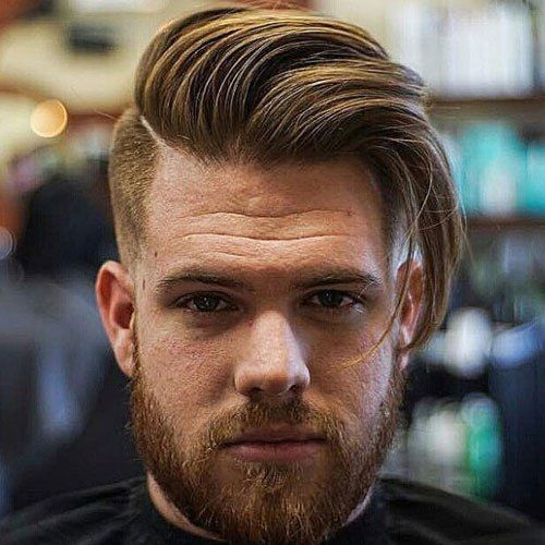 Full Beard with Long Comb Over Haircut