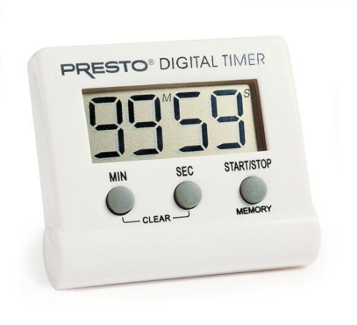 Presto 04213 Electronic Digital Timer by Presto. $6.34. Operates on one easy-to-find AAA battery; Battery included. This electronic digital timer counts down from any time up to 99 minutes and 59 seconds and has an alarm that signals when time is up. Easy-to-read digital display shows minutes and seconds. Timer also counts up for use as a handy stopwatch. Memory feature stores the last timer setting for quick repeat use; Convenient clip, easel stand, and magnet on ba...