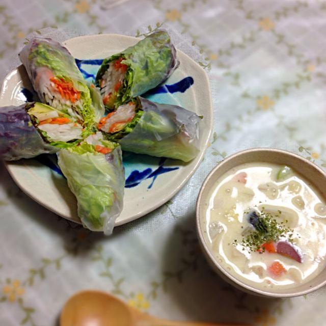生春巻きはアボカド、人参、大根とサーモンが入ってます。 豆乳シチューはさつまいも、ブロッコリー、人参、玉ねぎ、エリンギ、白菜入り。米粉でとろみをつけました。 - 10件のもぐもぐ - 生春巻きと豆乳シチュー by comsmiwa