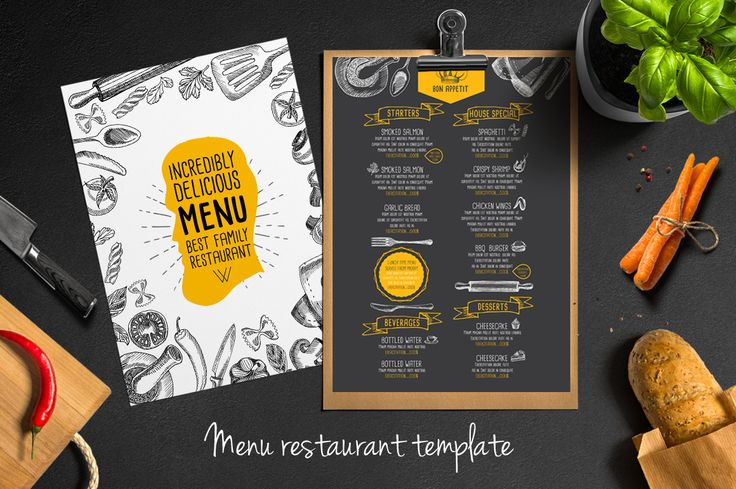 Food menu template  for restaurant. Creative and modern food menu templates for your restaurant business.  More #printable #menu for your #brand you can download here ➝ https://creativemarket.com/BarcelonaDesignShop?u=BarcelonaDesignShop