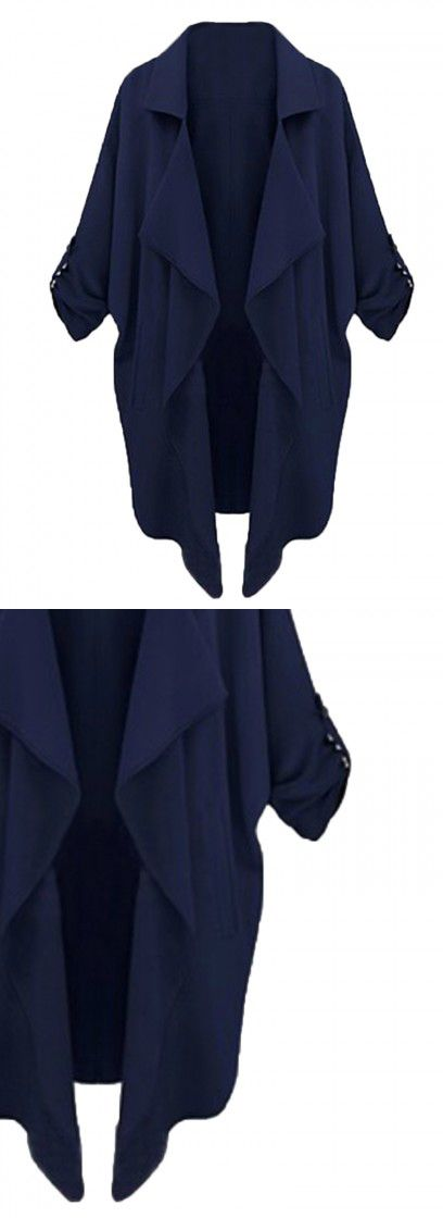 Navy Lapel Roll Up Sleeve Open Front Trench Coat