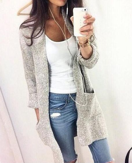 Cardigan can enhance people's temperament, this is a very beautiful sweater.This sweater is long,can make you very active .And solid color will make this sweater is very beautiful. Size:S, M, L, XL Co