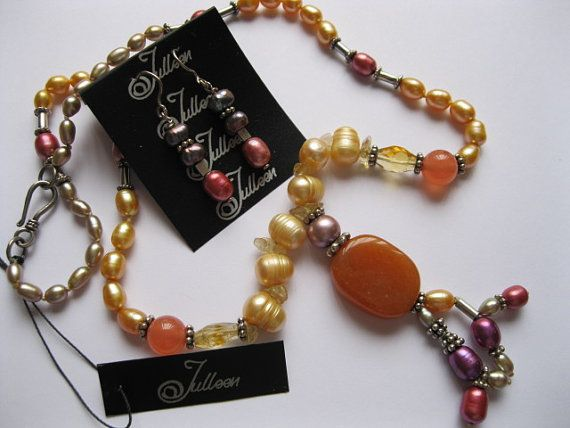 Orange Carnelian, Citrine, Gold Pearl Sterling Silver Necklace Set