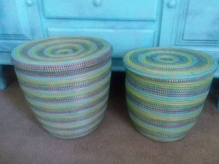 Aqua Colours, Modern Basket, Flat lid basket tropical sea, ocean colours, stripes, laundry Hamper by africanbaskets on Etsy