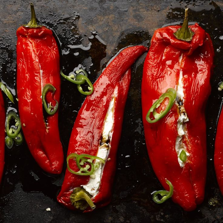 Stuffed Romano peppers with ricotta and mascarpone. Use the best quality ricotta you can find for this. Serves six, as a starter or part of a mezze platter, along with good bread.