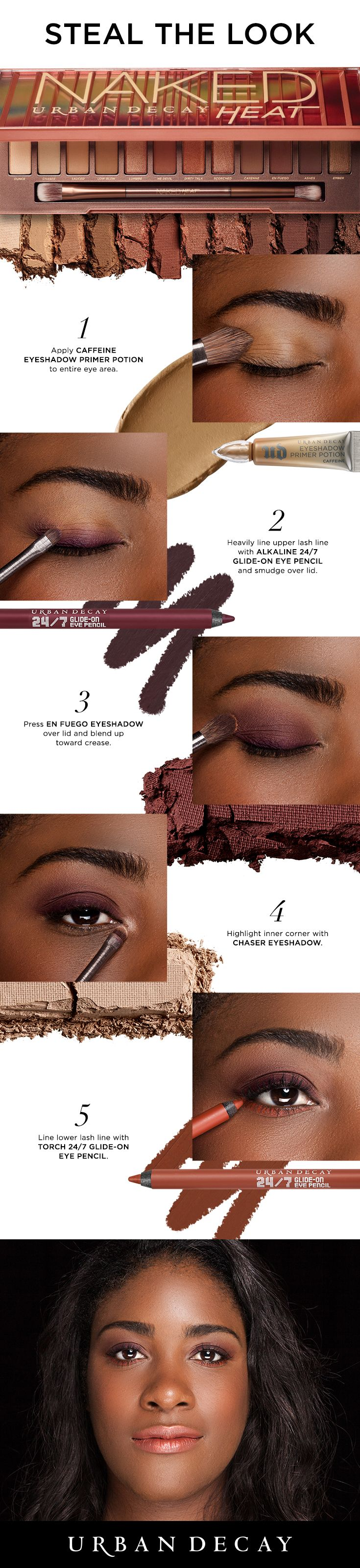 Can't get enough of this neutral, cranberry eye look? Try it out with these simple steps and score your Urban Decay Naked Heat palette now. #NakedHeat