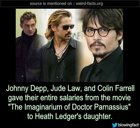"""Johnny Depp, Jude Law, and Colin Farrell gave their entire salaries from the movie """"The Imaginarium of Doctor Parnassius"""" to Heath Ledger's daughter. -Source"""