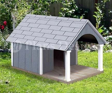 """30"""" x 36"""" Small Dog House Plans, Gable Roof Style with Porch, Design # 90204G"""