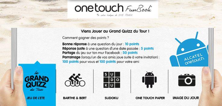 Deux nouveaux gagnants au Grand Quizz du Tour : Stéphanie et Jean-Pierre ! BRAVO ! Vous aussi tentez votre chance de remporter les Smartphones officiels du Tour de France #TDF en répondant chaque jour à 4 questions.  Indice du jour : pour la question 3, les cadeaux que distribue la Caravane ALCATEL ONE TOUCH pendant le Tour de France #TDF ce sont des objets que l'on peut mettre sur son réfrigérateur. https://www.facebook.com/letourenonetouch/app_151320008388247.  #ONETOUCH ;-)