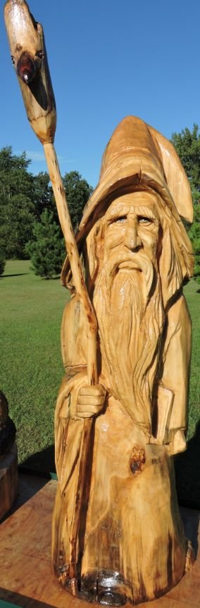 Chainsaw carving wizard sorcerer wood yard