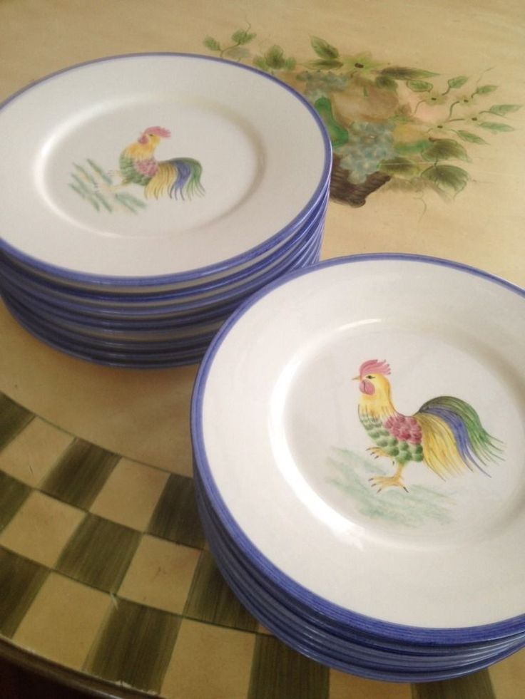 Port O' Call Hand Painted Signed Dinner & Charger Rooster Plates, Italy
