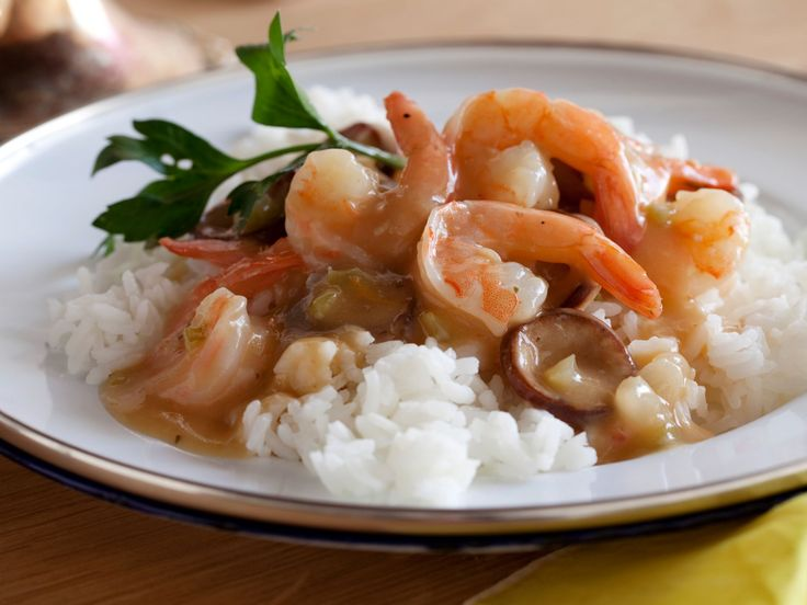 Shrimp Gumbo : This spicy Cajun gumbo, a stew originating in Louisiana in the 18th century, gains much of its flavor from the dark roux and its characteristic thickness from file, an herb made from the ground leaves of the sassafras tree. Onions, celery and green peppers, the