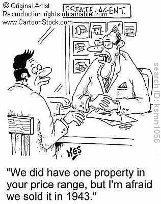 'We did have one property in your price range, but I'm afraid we sold it in 1943.' by Kes