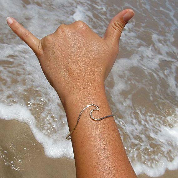 Wave Bangle, Gold Hammered Bracelet, Surfer Girl, Hawaii Beach Ocean Jewelry, Summer Fashion on Etsy, $45.00