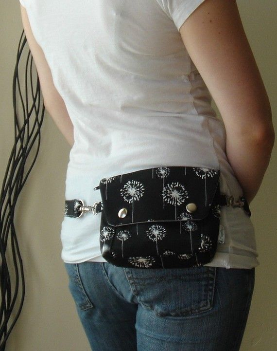 Convertible Hip Pouch  Black and White Dandelions by HaydenJ