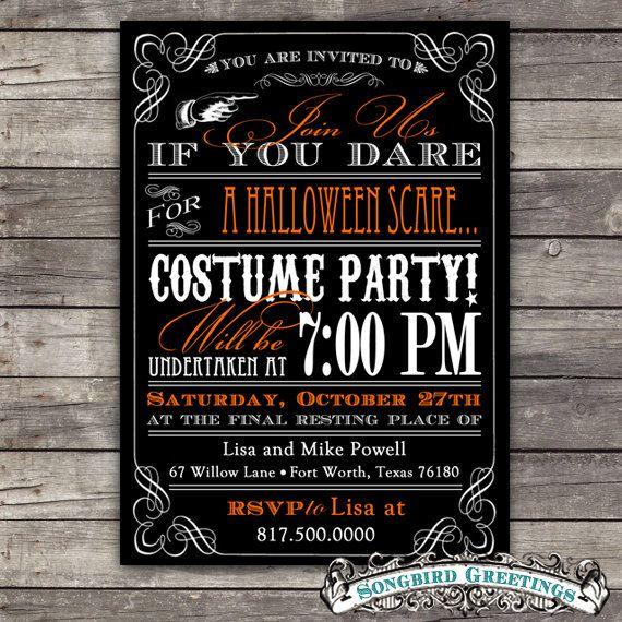 DIY vintage Halloween party invitation--customizable. $20.00, via Etsy.
