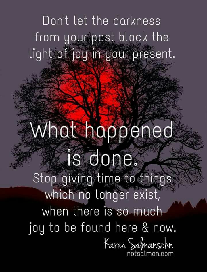 Don't let the darkness from your past block the light of joy in your present. What happened is done. Stop giving time to things which no longer exist, when there is so much joy to be found here and now. <3