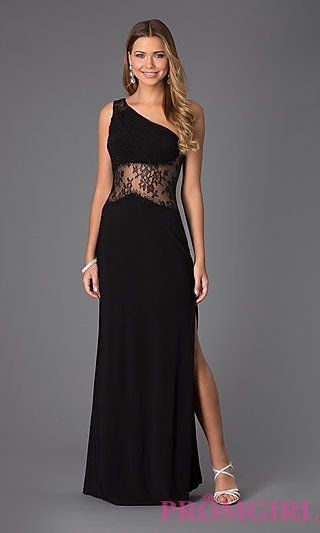 Floor Length One Shoulder Dress by Shimmer at PromGirl.com