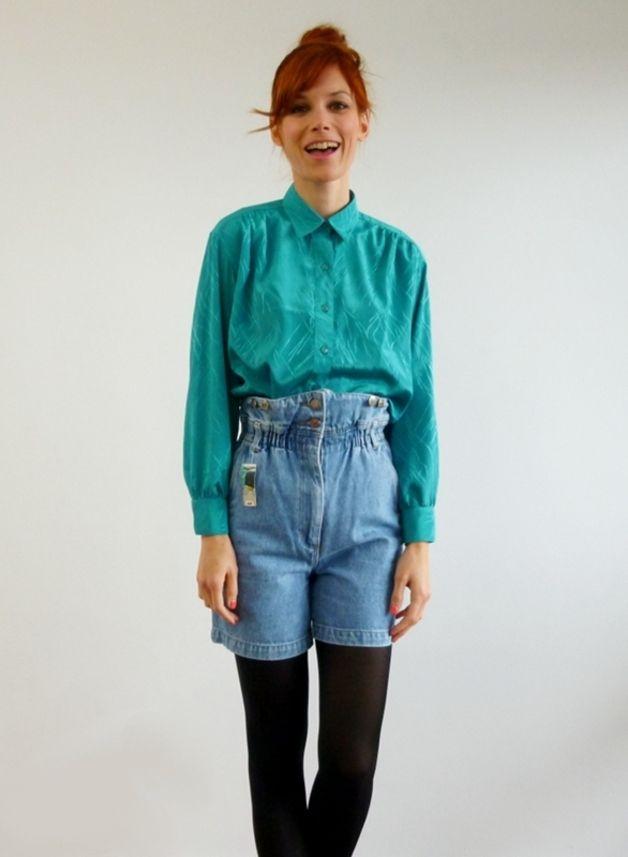 Vintage Blusen - XS-M Oversize Vintage Bluse türkis 80er Hemd - ein Designerstück von Visual-Vampire bei DaWanda