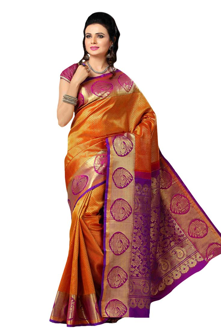 Pure silk orange saree with purple and gold border and zari woven pallu which makes the wearer look glamorous and also look enticing with its beautiful colours
