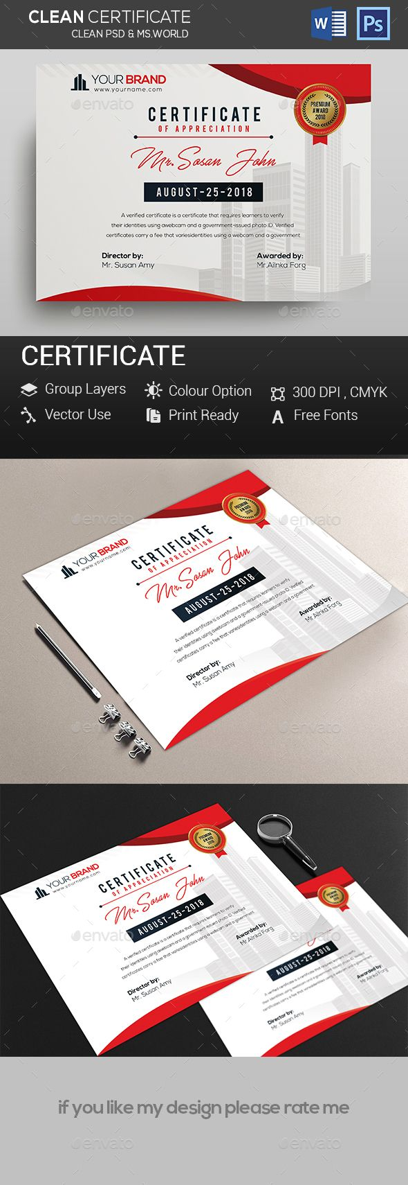 Certificates Certificate Template psd file and ms-ward file include Fully Clean Certificate A4 Paper Size With Bleeds Quick and easy to customize templates Any Size Changes Fully Group Layer Free Fonts Use Fully Vector