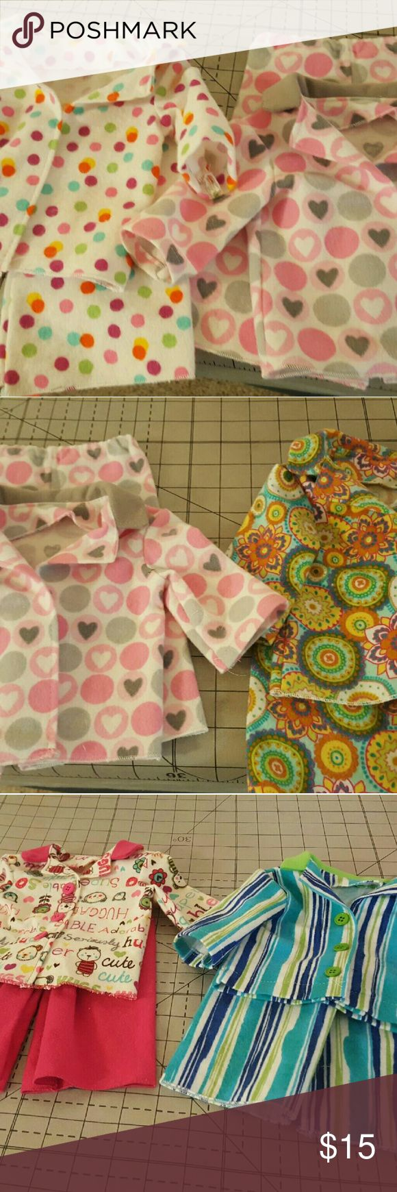 More Images of PJ Sets American Girl Doll handmade pajama sets.  Please comment which one you're interested in! Price is listed per individual set - see other listing of dolls wearing the pjs! Other