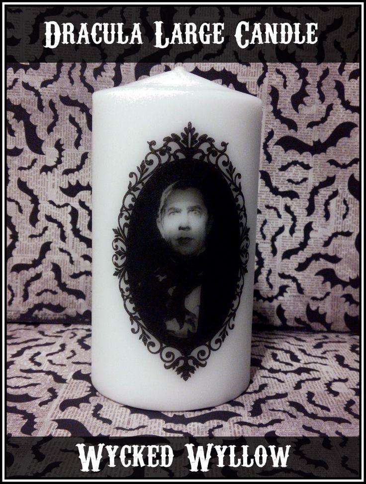 Dracula Bela Lugosi large pillar candle @ Wycked Wyllow