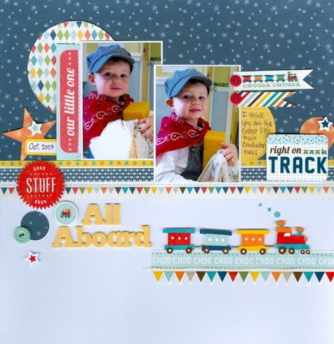 #papercrafting #scrapbook #layout idea: Echo Park - Little Boy Collection Scrapbook layout Scoot collection from Echo Park