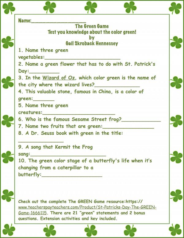 """Sample Green Game,great for a Friday or for St. Patrick's Day. Check out the complete The GREEN Game resource: https://www.teacherspayteachers.com/Product/St-Patricks-Day-The-GREEN-Game-1666115. There are 21 """"green"""" statements and 2 bonus questions. Extension activities and key included."""