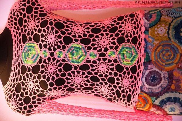 Цветочная розовая сетка. сетка вязанная крючком в ед. экземпляре, в комплекте шифоновая ткань, будет отличным дополнением в виде юбки, которую вы сами можете сшить по вашему фасону любой длины. Ширина -1.5 м, длина-2.30 м. Ткань не прозрачная и приятная к телу.