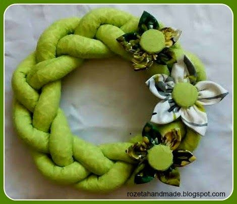 Rozeta handmade, wianek na ścianę, wianek ozdobny,  wianek zielony, kwiatek ręcznie szyty