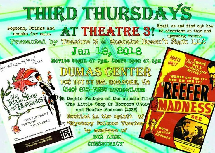 3rd Thursdays at Theatre 3 Thu Jan 18~~ 7 PM  Theatre 3  Big Lick Conspiracy  $5.00 and seats are limited! Tickets will also be sold at the door until seats are filled or until 7:30 pm. Adults (18+) please. http://ow.ly/LVfS30hRrSt