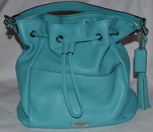 Coach Avery Leather Drawstring Handbag Purse Turquoise Silver F27003 Bucket Bag Handbags Purses