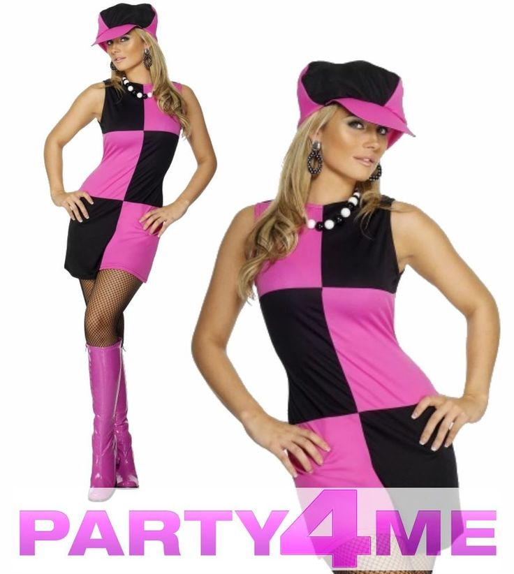 Swinging 60s 70s Sixties Ladies Fancy Dress Disco Costume Outfit & Hat #Smiffys