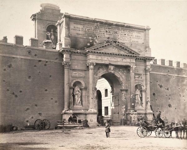Ludovico Tuminello (1824-1907), Gioacchino Altobelli (1814-1879 c.) Veduta di Porta Pia
