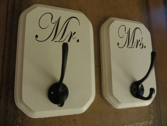 Mr. and Mrs. or His and Hers Bath Towel Hooks by LulusLouisville, $36.00