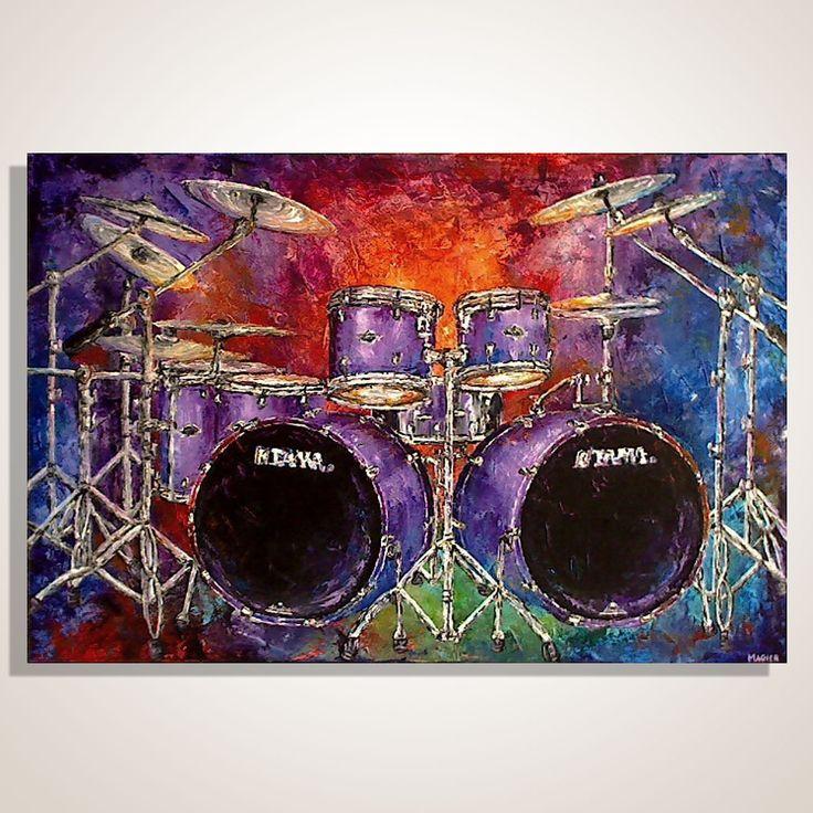 Drum Set Wall Decor : Drum kit set painting music art studio decor