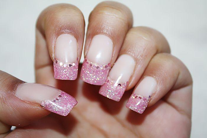 Pink tips nail design