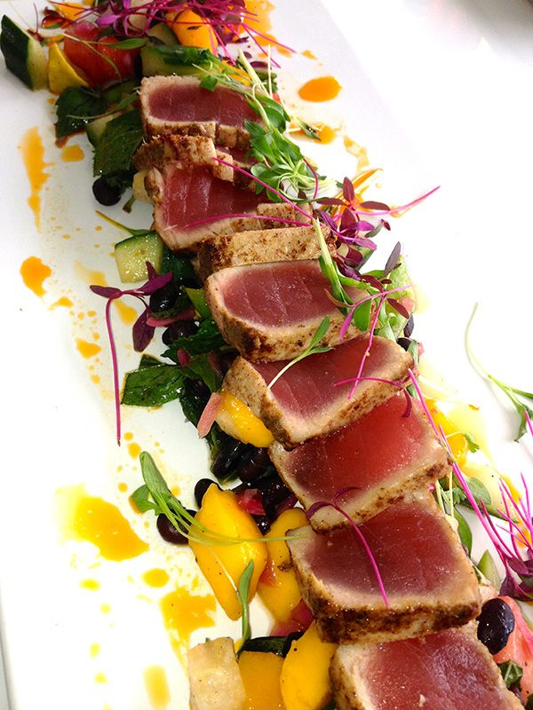 summer salad recipe: seared tuna & island chopped salad