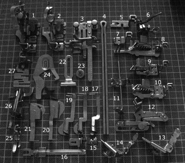 1: Four-position Ruffler (Simanco 86642) 2: Two-position Ruffler (Simanco 120290) 3: Tuck Marker (Simanco 36583) 4: Stoppax Hemstitching Fork 5: Rolled Hemmer (Simanco 35857) 6: Hopping Foot (Siman...