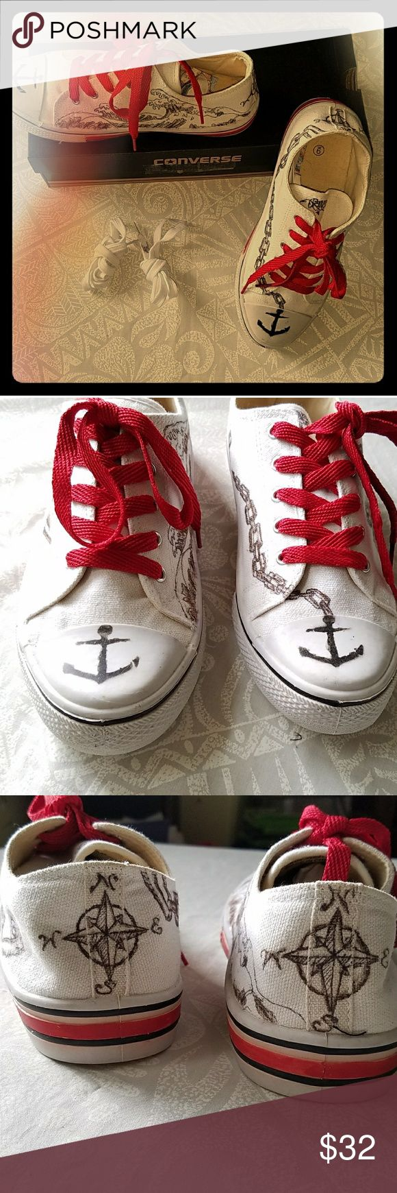 CUSTOM  COURT SHOES SIZE 9 CUSTOM GENTLY IF EVER WORN BASKETBALL SHOES COURT SNEAKERS NAUTICAL SCENE ANCHOR AWESOME OCTOPUS FUN n FUNKY SHIPS IN CONVERSE BOX EXTRA LACES TIME TO GO PLAY!! Shoes Sneakers