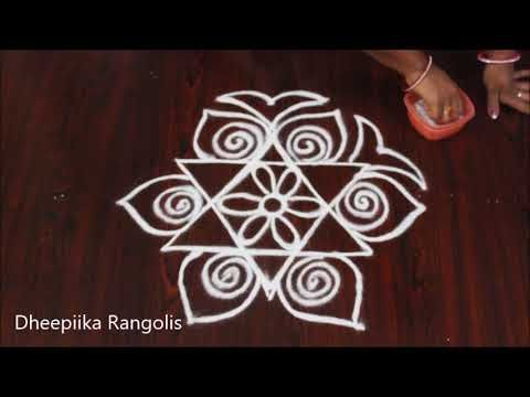simple and easy rangoli design - beautifull kolangal - free hand muggulu - big kolam - YouTube