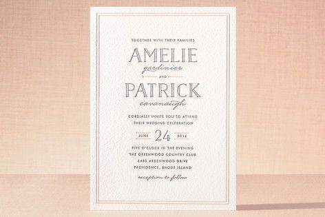 Inline Type Letterpress Wedding Invitations by Hooray Creative at minted.com