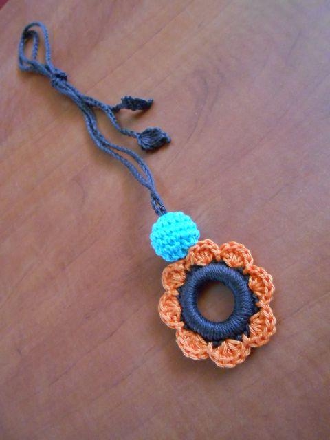 Hordozós nyaklánc - virág, Baba-mama-gyerek, Ékszer, óra, Nyaklánc, Baba-mama kellék, Meska crochet necklace