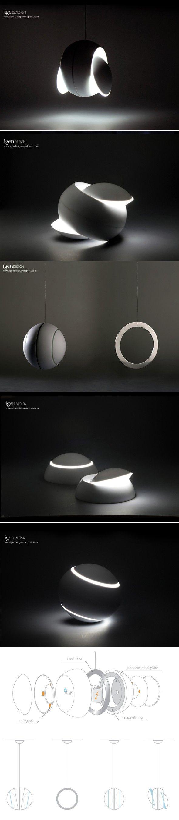 A veces pienso que diseñar una lámpara es fácil, ya que su función primordial, -la de iluminar- se logra sin mucho problema. Cuando veo lámparas como ésta, me callo la boca. Lamp Swingy Magnative by IGEN Design
